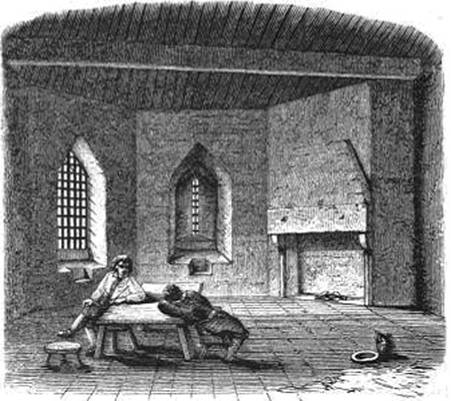 A mid-Victorian depiction of the debtors prison at St Briavel Castle, England (1858)
