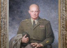 "Dwight David Eisenhower, 1947, Oil on canvas by Thomas Edgar Stephens. As the general who led the Allies to victory in Europe during World War II, Dwight D. Eisenhower enjoyed a postwar popularity that inspired thoughts in many quarters of running him for the presidency. But the much-revered ""Ike,"" with his politically potent grin, did not initially want the office, and it was not until 1952 that Republicans finally prevailed upon him to seek it. After Eisenhower left the White House in 1961, many political commentators indicated that they had not been especially impressed with this immensely popular President's performance. In time, however, Eisenhower's presidential ratings have risen, in the face of increasing appreciation for his sound fiscal policies and efforts to promote peaceful coexistence with the Soviet Union while still maintaining a strong posture against its threatened aggressions. Eisenhower was serving as chief of staff of the United States Army when he sat for this portrait. As the general who had led the Allies to victory in Europe during World War II, he was, like many military heroes before him, inspiring much talk about his White House potential."
