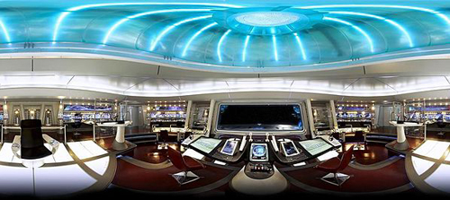 Panorama of the Enterprise's bridge from the 2009 Star Trek film.